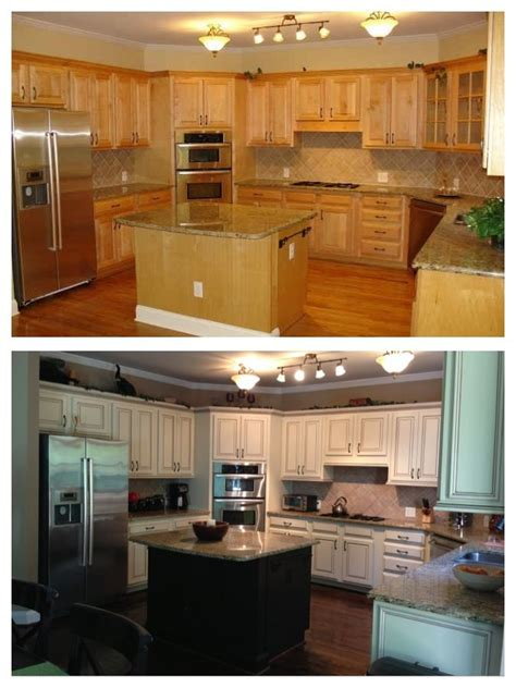 Before And After Pictures Of Kitchen Cabinets Painted Before And After Painted Maple Cabinets Kitchen Pinterest At The Top Cabinets And Glaze