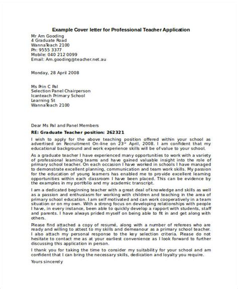 cover letters for teachers sles application letter for professional 28 images