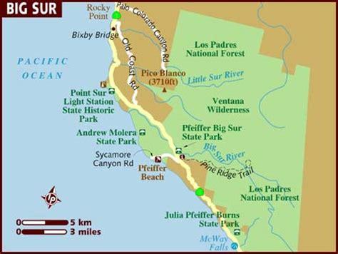 big sur map map of big sur