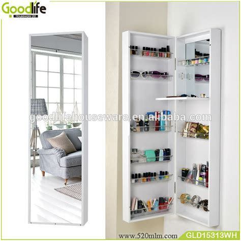 Free Standing Jewelry Armoire With Mirror Wooden Makeup Cabinet Furniture Free Standing Mirror