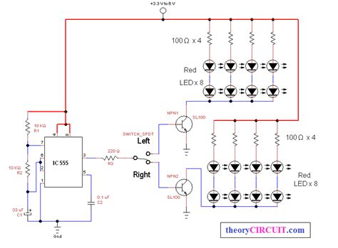 bike led indicator circuit bicycle direction indicator light theorycircuit do it yourself electronics projects
