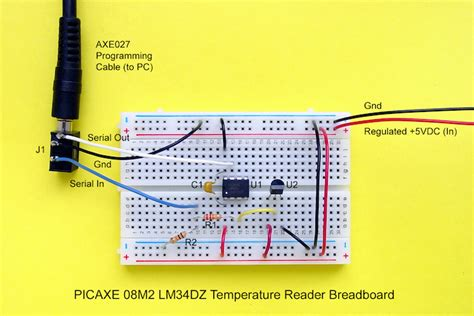 breadboard circuit assembly use a picaxe microcontroller to read and display temperature