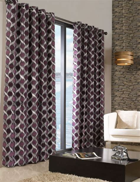 Purple And Grey Curtains Stylish Trendy Ringtop Eyelet Lined Circle Pattern Curtains Aubergine Purple Colour