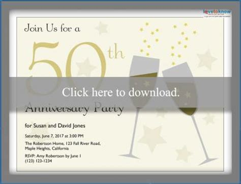 Printable 50th Anniversary Invitations Lovetoknow 50th Anniversary Templates Free