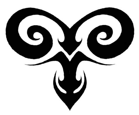 Black Ink Tribal Ram Aries Sign Symbol Tattoo Design Tribal Aries Ram
