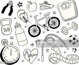 doodle drawing exercises health and fitness doodles vector getty images