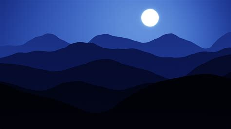 wallpaper moon mountains cold night blue minimal