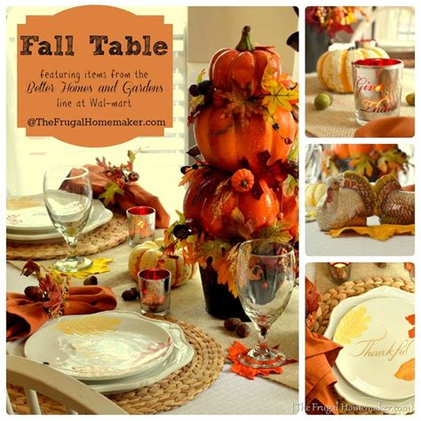 better homes and gardens fall decorating fall table featuring items from the better homes