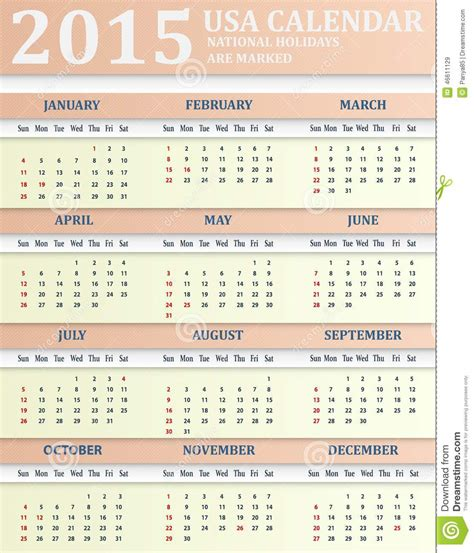American Calendar 2015 Usa Calendar For 2015 Stock Vector Image 46611129