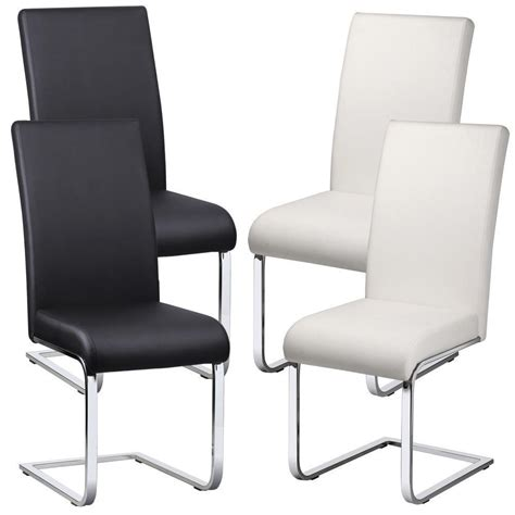 Faux Leather Dining Room Chairs 2 X Faux Leather Dining Room Chair Modern High Back Chrome Legs Office Chairs Yahee Store Uk