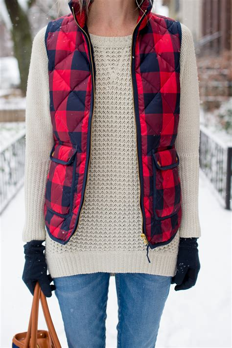 jcrew buffalo plaid check vest kelly in the city