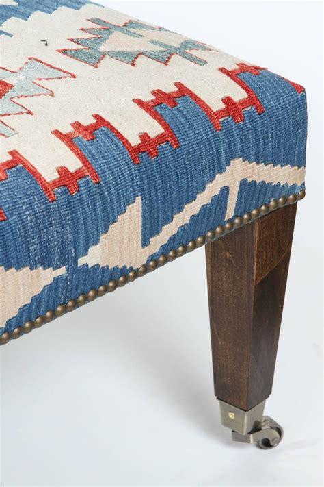 rug ottoman vintage kilim rug ottoman with walnut legs at 1stdibs