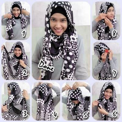 Pashmina Sifon Polka cara memakai jilbab pashmina sifon motif polka tutorial memakai jilbab modis