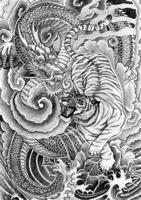 chinese dragon and tiger tattoo designs and tiger tattoos and tiger