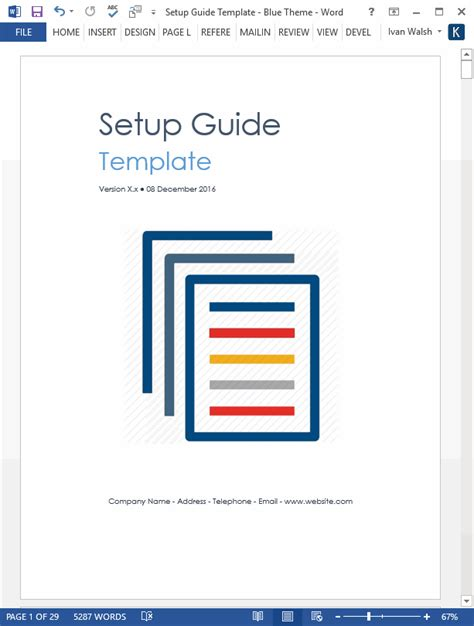 how to guide template setup guide template 29 pg ms word template