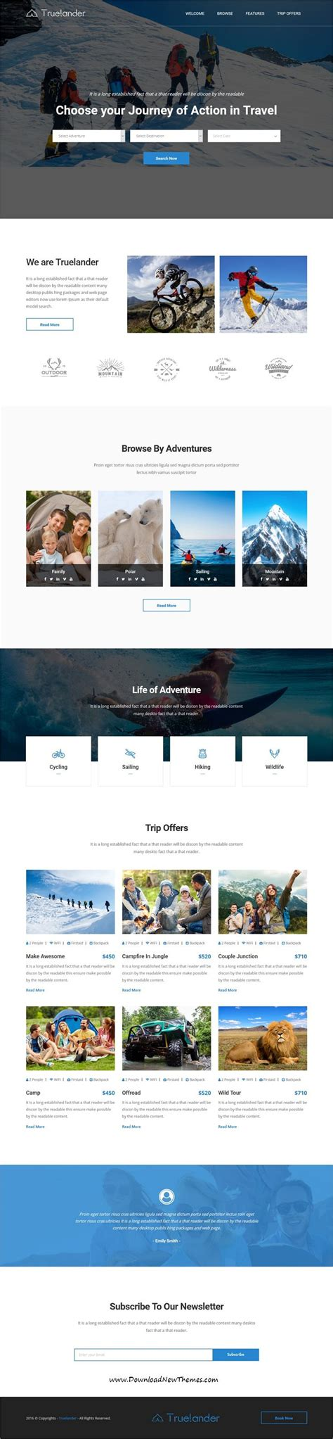 Truelander Is Clean And Modern Design Responsive Bootstrap Html5 Template For Hiking Travel Modern Bootstrap Templates