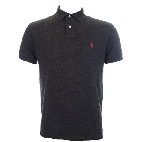 polo shirt polo ralph custom fit polo shirt in black marl