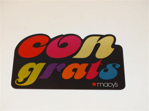 Gift Card Balance Macys - macys gift card foil rainbow congrats zero balance