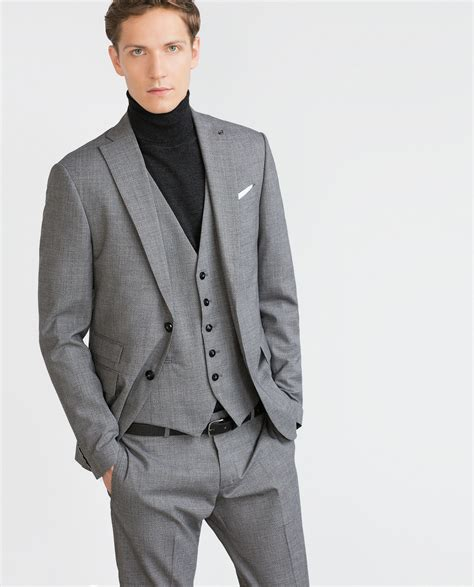 grey blazer zara wool blazer in gray for men grey marl lyst