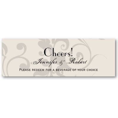 Complimentary Drink Ticket Template by Charcoal And Ivory Filigree Wedding Drink Ticket