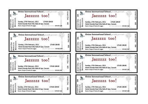 benefit ticket template benefit dinner ticket template templatezet