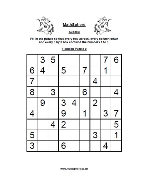 printable sudoku fiendish collection of math sudoku worksheets bluegreenish