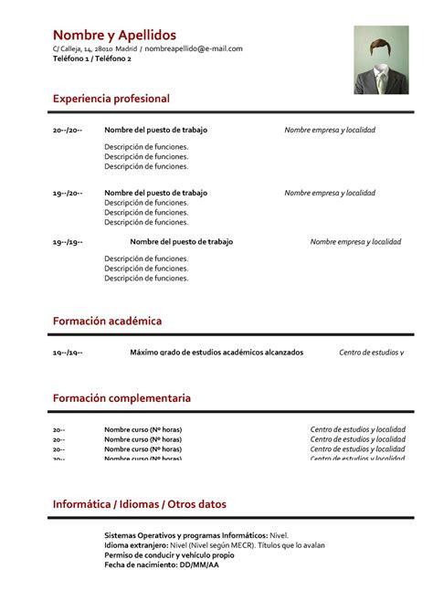 Ejemplo De Curriculum Primer Trabajo Formato Curriculum Basico Experiencia Cv Plantilla De Curriculum Vitae