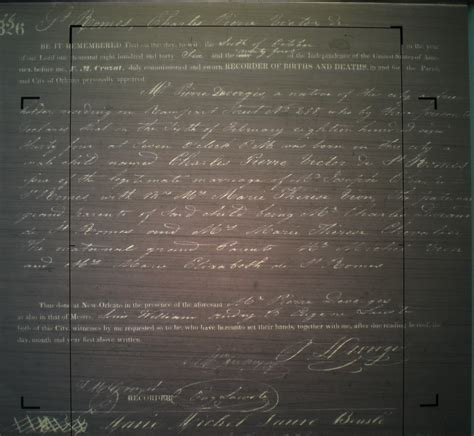 Orleans Parish Birth Records Birth Certificate For Charles Victor De St Romes Stewart De Jaham Family