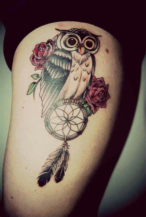 rose and dreamcatcher tattoo owl roses catcher tattoos tattoos