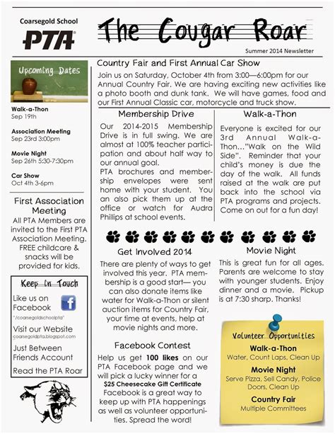 pto newsletter templates free pto newsletter templates free coarsegold elementary pto