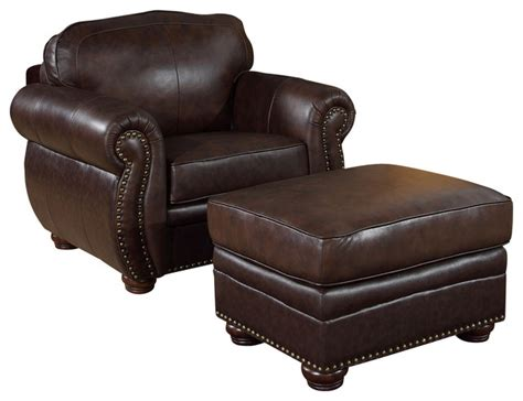 armchair and ottoman sets dark brown 2 piece set premium italian leather armchair