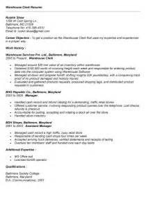 Barista Description Resume Sles by Warehouse Clerk Resume Sales Clerk Lewesmr