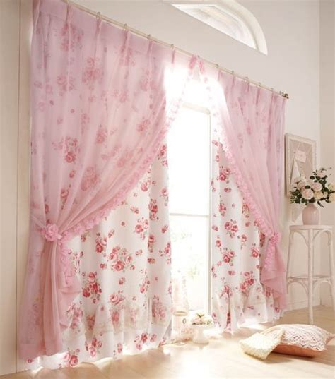 pretty drapes idea pink ruffle overlay sheer curtains curtains so