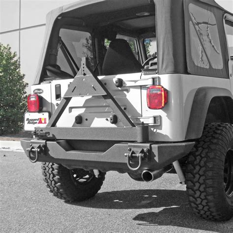 jeep rear bumper with tire carrier rugged ridge 11546 42 tire carrier xhd rear bumper 76 06