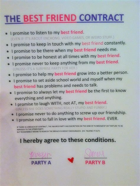 Agreement Letter For Boyfriend Best Friend Contract Creativeness Mondays Friends And Schools