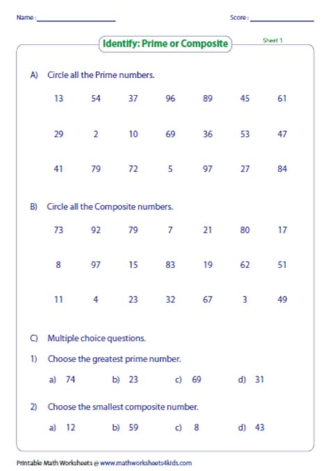 printable prime and composite numbers quiz prime and composite numbers worksheets