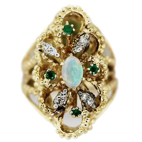 Gold Jelly vintage 14k yellow gold jelly opal single cut emerald ring