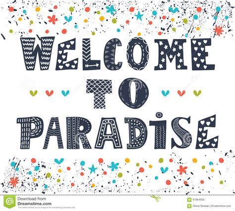 design poster cute welcome to paradise poster design cute greeting card