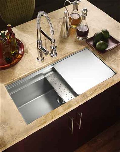 Kitchen Sink With Sliding Cutting Board houzer nvs 5200 novus single bowl sliding dual platform stainless steel kitchen sink
