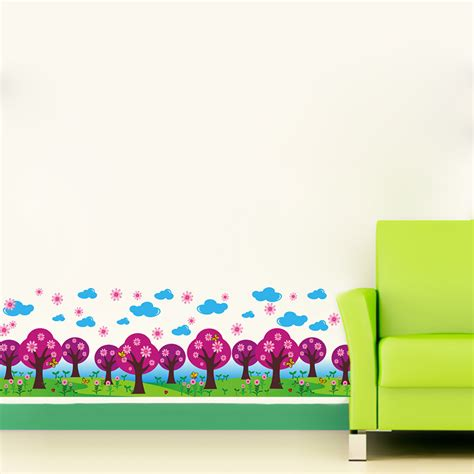 colorful tree flowers fence wall border decal sticker
