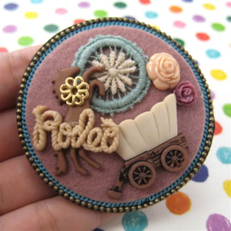 Handmade Brooches Pins - handmade felt western rodeo cowboy inspired pin brooch