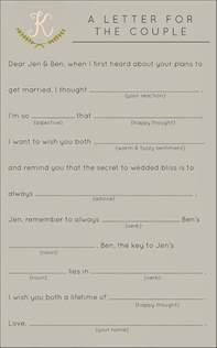Break Letter Mad Libs bridal shower games to have fun creative wedding and mad libs