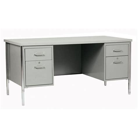 Home Depot Small Desks Sandusky 400 Series Pedestal Steel Desk In Gray