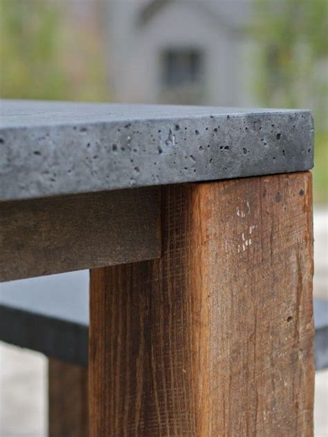 wood and concrete dining room table architecture