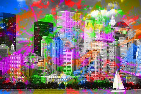 design art new york new york city skyline paint splatters pop art mixed media