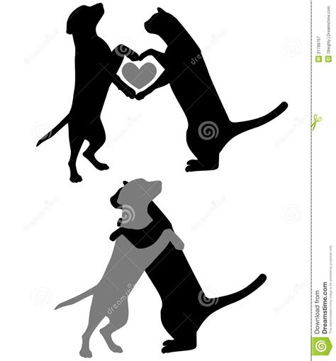 cat and dog love silhouettes stock vector image 21788767