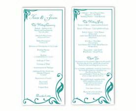 wedding program sle template wedding program template diy editable text word file program teal wedding program blue