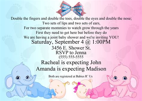 dual elephant baby shower invitation kustom kreations