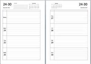 calendar journal template philofaxy a5 week per view journal diary insert