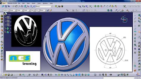 tutorial logo volkswagen catia v5 v6 tutorial volkswagen logo new design youtube